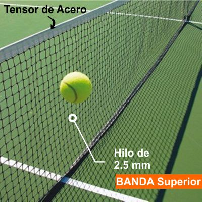 Red De Tenis -  12,40x1,00 Mts - Hilo 2.5 Mm -  Polietileno - Simple Banda Superior Cosida- Cable De Acero